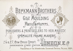 Advert For Beckmann Brothers, Gilt Moulding Manufacurers
